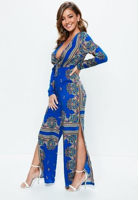 Missguided Blue Printed Long Sleeve Split Leg Romper