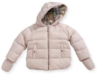 Burberry Rilla Hooded Raglan Puffer Jacket, Pink, Size 6M-3Y