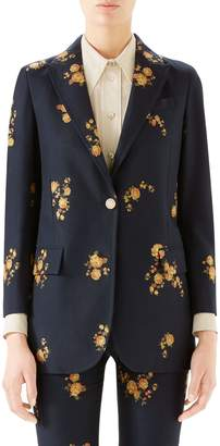 Gucci Camellia Fil Coupe Cotton & Wool Jacket