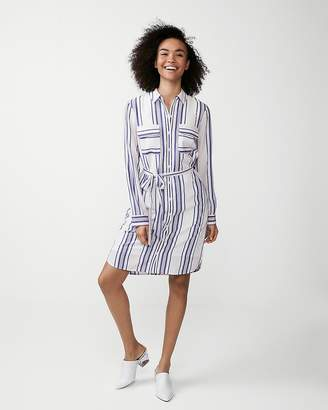 15177ca57a Express Striped Long Sleeve Shirt Dress