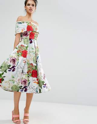 ASOS Premium Off The Shoulder Bardot Midi Prom Dress In Garden Floral $128 thestylecure.com