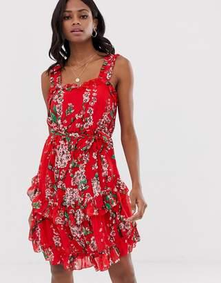 Vila ruffle cami floral mini dress