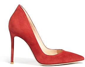 Gianvito Rossi Women's Ellipsis High-Back Suede Point Toe Pumps