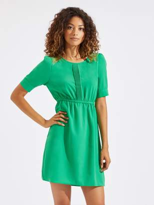 Shein Neon Lime Lace Insert Puff Sleeve Dress
