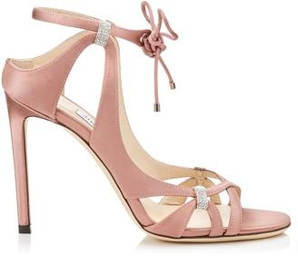 Jimmy Choo THASSIA 100 Dark Pink Satin Sandals with Swarovski Crystal Detailing