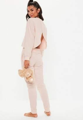 Missguided Pink Open Back Long Sleeve Jogger Lounge Set