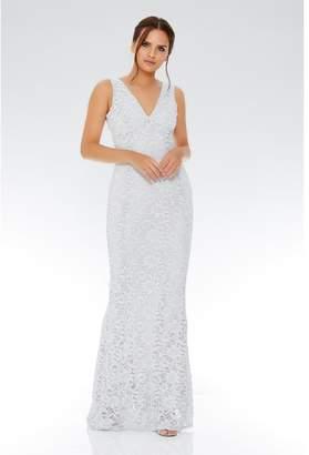 Quiz Grey Glitter Lace V Neck Maxi Dress
