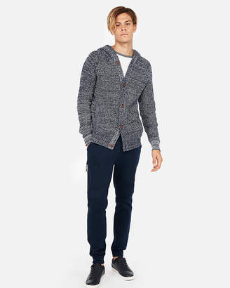 Express Button Front Hooded Cardigan