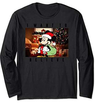 Disney I Want To Believe Mickey Mouse Santa Long Sleeve