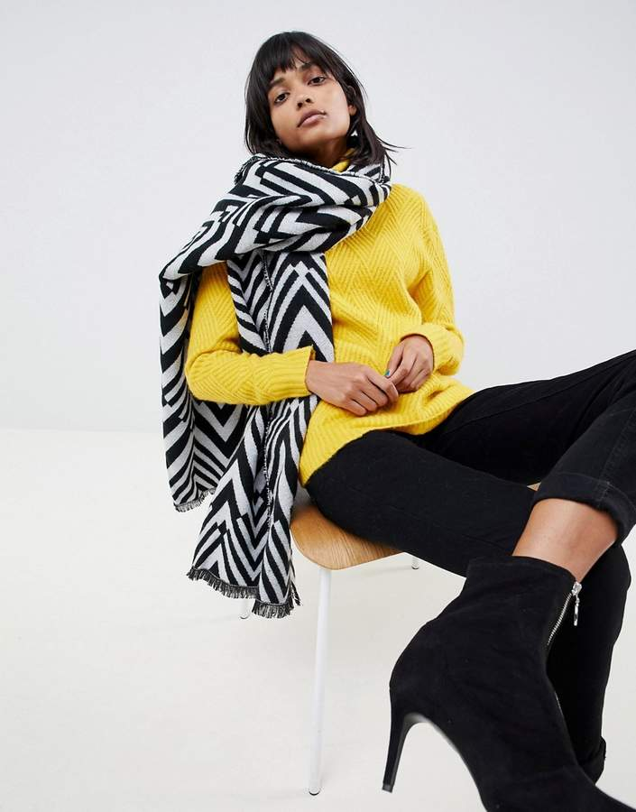 ASOS DESIGN oversized long blocked chevron scarf in mono