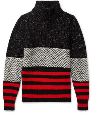 Burberry Intarsia Striped Wool-Blend Rollneck Sweater