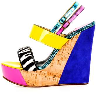 Kim Kwang - Sporty Wedge Sandals Zebra Zetailing Blue