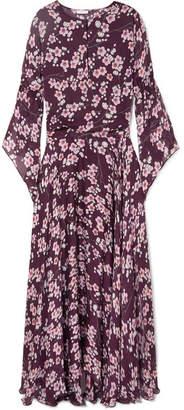 Eywasouls Malibu - Claire Floral-print Silk-chiffon Maxi Dress - Plum