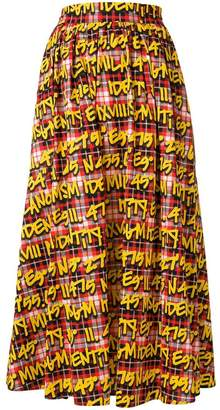 MSGM graffiti print plaid midi skirt