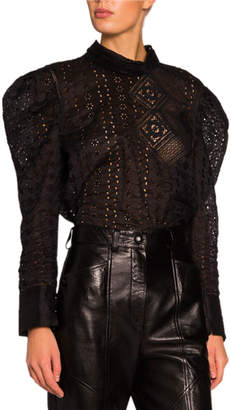 Isabel Marant Eyelet-Lace Puff-Sleeve High-Neck Top