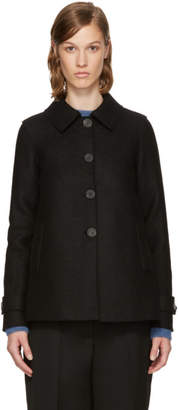Harris Wharf London Black Wool Short Loden Coat