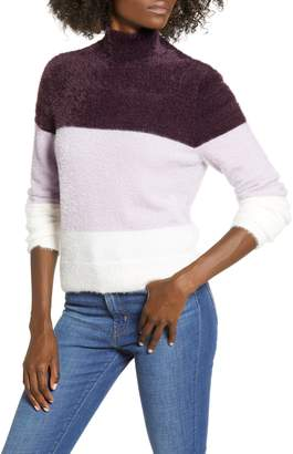 Leith Fluffy Mock Neck Striped Pullover