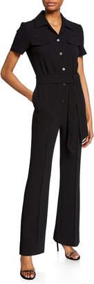 Diane von Furstenberg Daisy Button-Front Short-Sleeve Jumpsuit with Belt