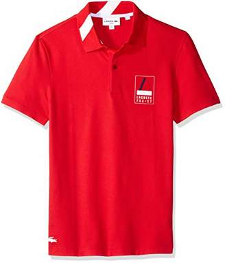 Lacoste Men's Short Sleeve Slim Fit Heritage Graphic Polo