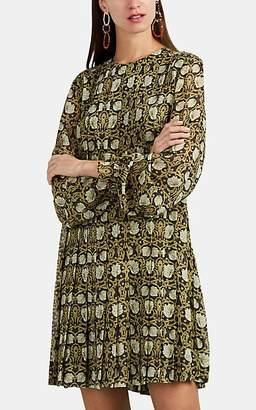 Robert Rodriguez WOMEN'S PLEATED FLORAL SILK CHIFFON SHIFT DRESS