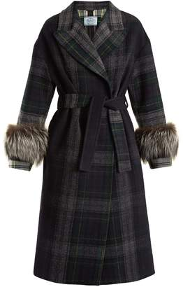 Fur-trimmed checked wool coat