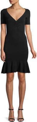 Milly Shirred V-Neck Flounce-Hem Dress