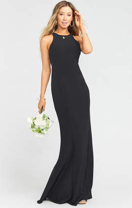 Show Me Your Mumu Chicago High Neck Gown ~ Black Stretch Crepe