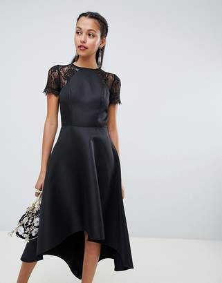 Chi Chi London high low hem midi dress with lace sleeves in black