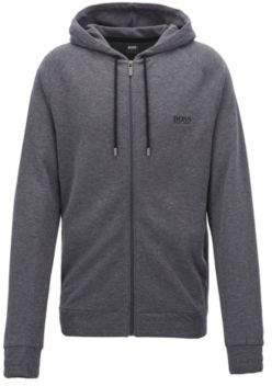 BOSS Hugo Hooded loungewear jacket in double-faced melange fabric M Grey