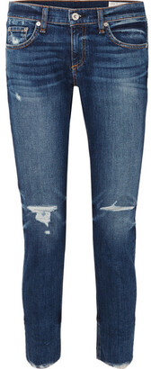 Rag & Bone Dre Distressed Slim Boyfriend Jeans - Dark denim