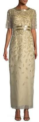 Oscar de la Renta Beaded Sequin Embroidered Short-Sleeve Column Evening Gown