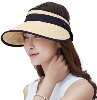 Siggi Wide Brim Straw Visor Cap for Women Packable Summer Sun Hat w/Detachable Face Mask Neck Flap SPF50 Beige