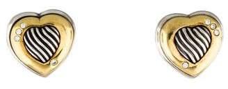 David Yurman Two-Tone Diamond Heart Clip-On Earrings