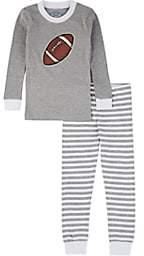 Sara's Prints KIDS' FOOTBALL-GRAPHIC COTTON-BLEND TOP & PANTS SET-GRAY SIZE 8 YRS