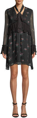 Pinko Long-Sleeve Floral Tie-Neck Boho Dress