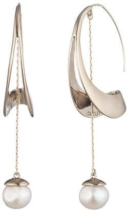Carolee Sculptural Cultured Freshwater Pearl Hoop Drop Earrings