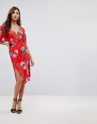 Asos DESIGN V Neck Midi Dress With Elastic Waist Detail In Red Floral