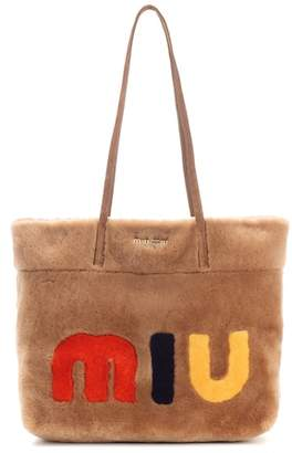 Miu Miu Suede-trimmed fur shopper