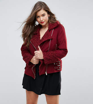 Missguided Plus Shearling Borg Aviator Jacket