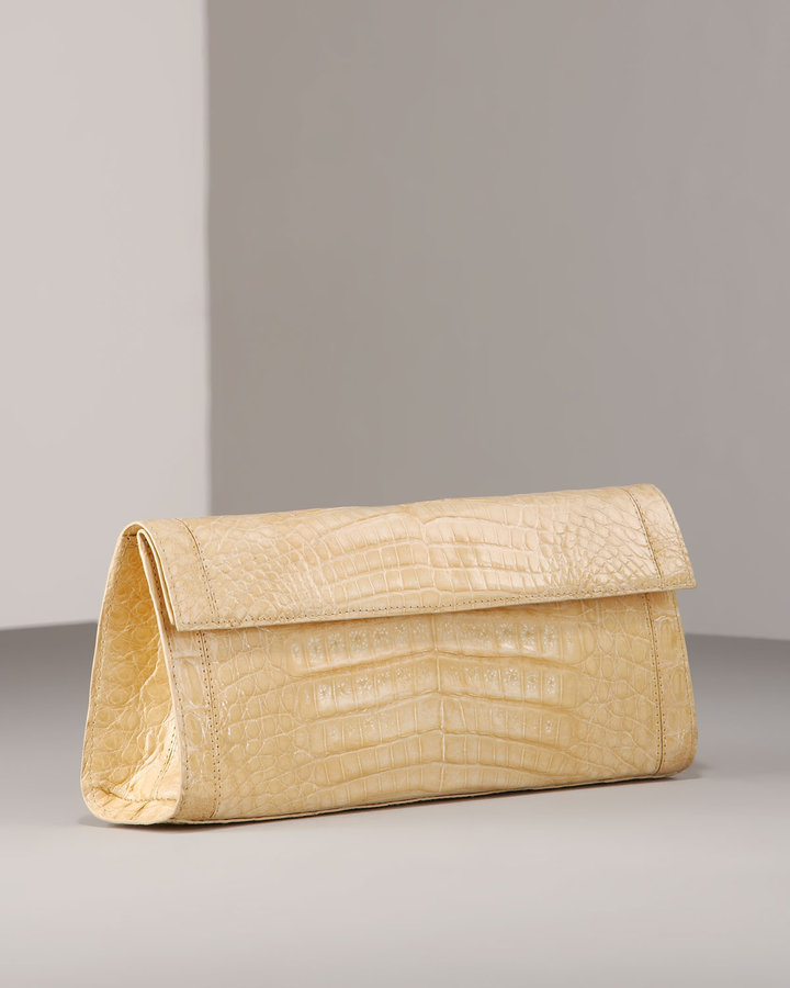 Nancy Gonzalez Croc Flap Clutch, Vanilla