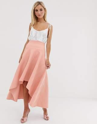 df019cc622 Asos Design DESIGN bonded lace dip hem midi skirt