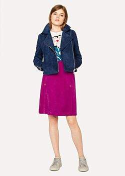 Paul Smith Women's Purple Suede Midi Skirt
