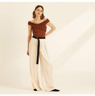 9cfedfc1d2eb44 Amanda Wakeley Viscose Knit Off The Shoulder Tobacco Top