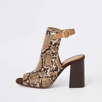849c6247f56 River Island Womens Brown wide fit snake print shoe boot