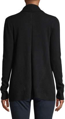 Neiman Marcus Cashmere Ribbed-Trim Drape-Front Cardigan, Black