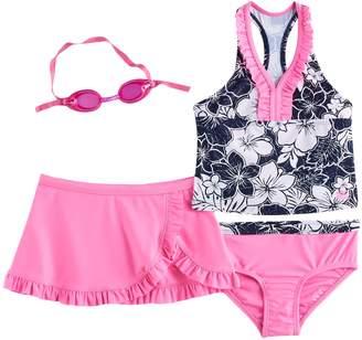ZeroXposur Girls 4-6x Tropical Flower Tankini Top, Bottoms & Ruffled Skirt Swimsuit Set