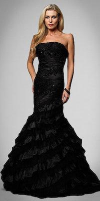 Black Organza Mermaid Gowns by Alyce Designs