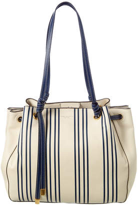 Tory Burch Caroline Striped Leather Carryall Tote