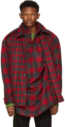 Y/Project Red and Black Skinny Double Shirt