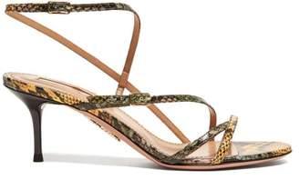 Aquazzura Carolyne 60 Python Print Leather Sandals - Womens - Yellow Multi